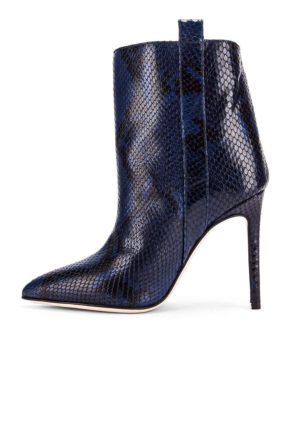 Image 5 of Paris Texas Snake Print Ankle Boot in Navy
