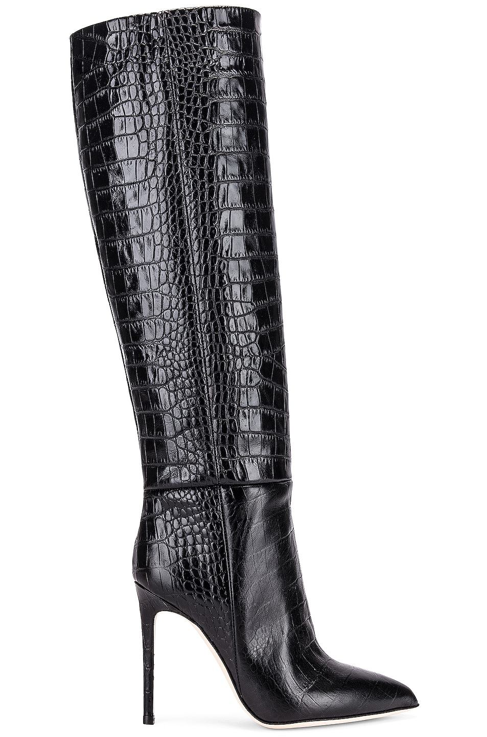 Image 1 of Paris Texas Moc Croco Tall Stiletto Boot in Black