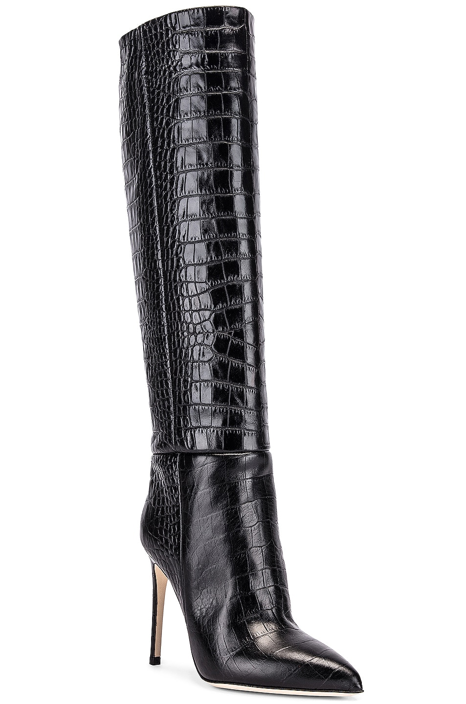 Image 2 of Paris Texas Moc Croco Tall Stiletto Boot in Black