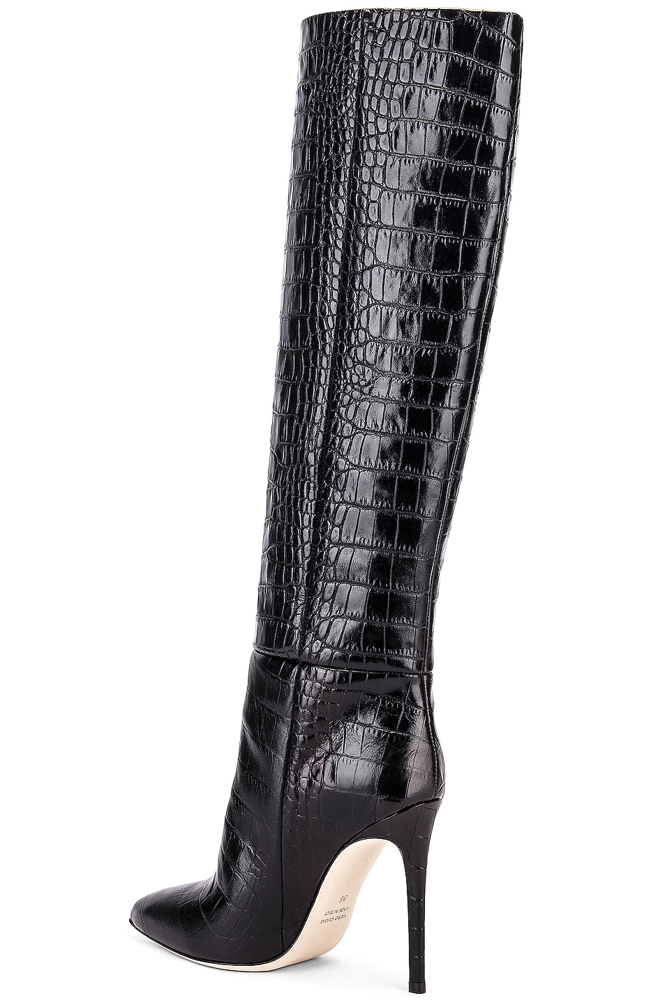 Image 5 of Paris Texas Moc Croco Tall Stiletto Boot in Black