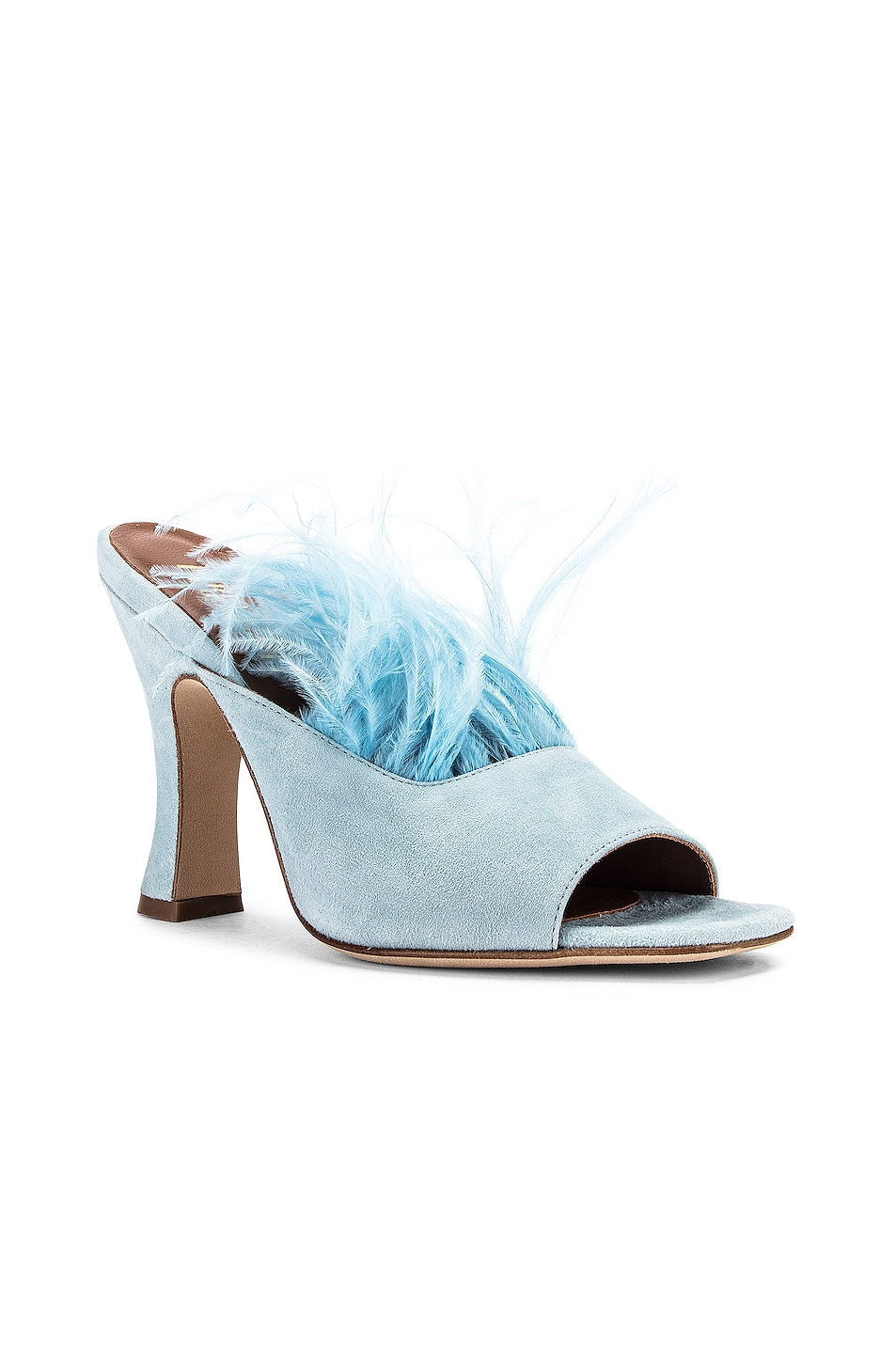 Image 2 of Paris Texas Suede Square Toe Mule with Marabou Feathers in Light Blue