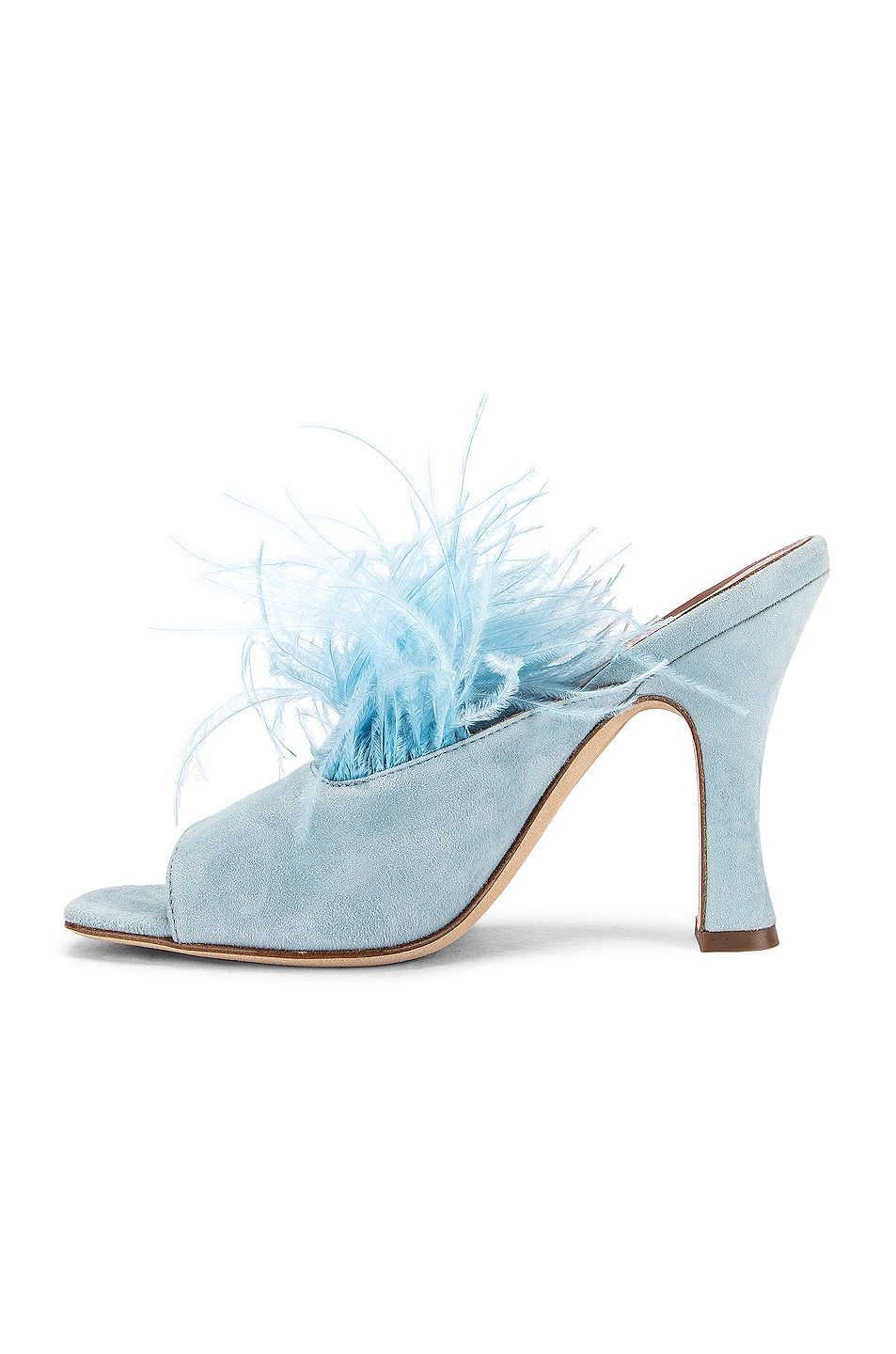 Image 5 of Paris Texas Suede Square Toe Mule with Marabou Feathers in Light Blue