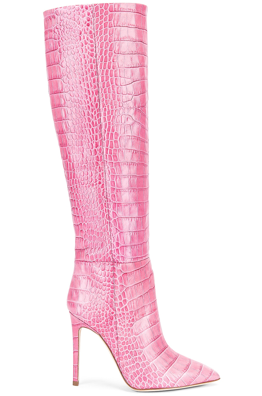 Image 1 of Paris Texas Moc Croco Tall Stiletto Boot in Fuchsia