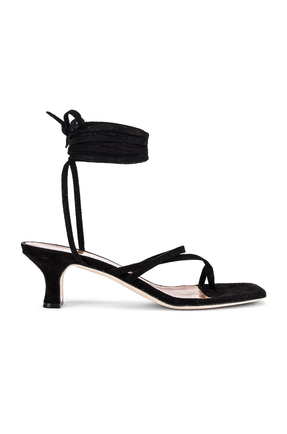 Image 1 of Paris Texas Suede Wrap Sandal in Black