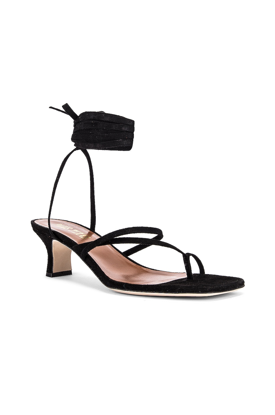 Image 2 of Paris Texas Suede Wrap Sandal in Black