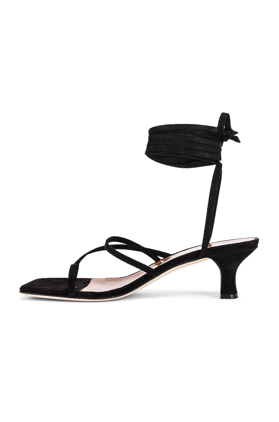Image 5 of Paris Texas Suede Wrap Sandal in Black