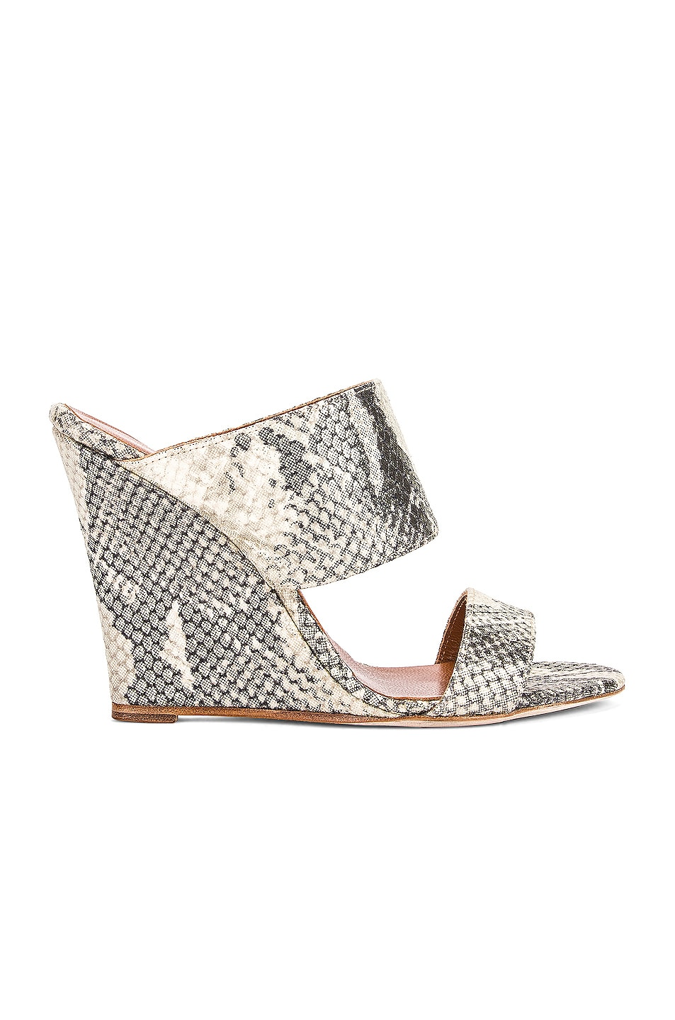 Image 1 of Paris Texas Python Lame Print 100 Wedge in Beige