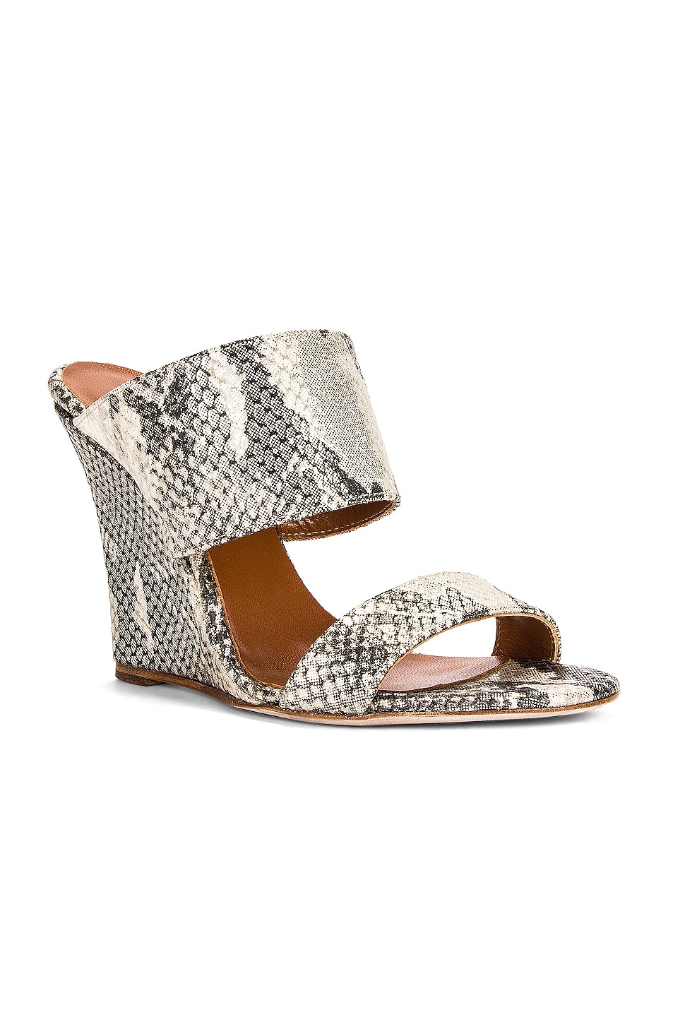 Image 2 of Paris Texas Python Lame Print 100 Wedge in Beige