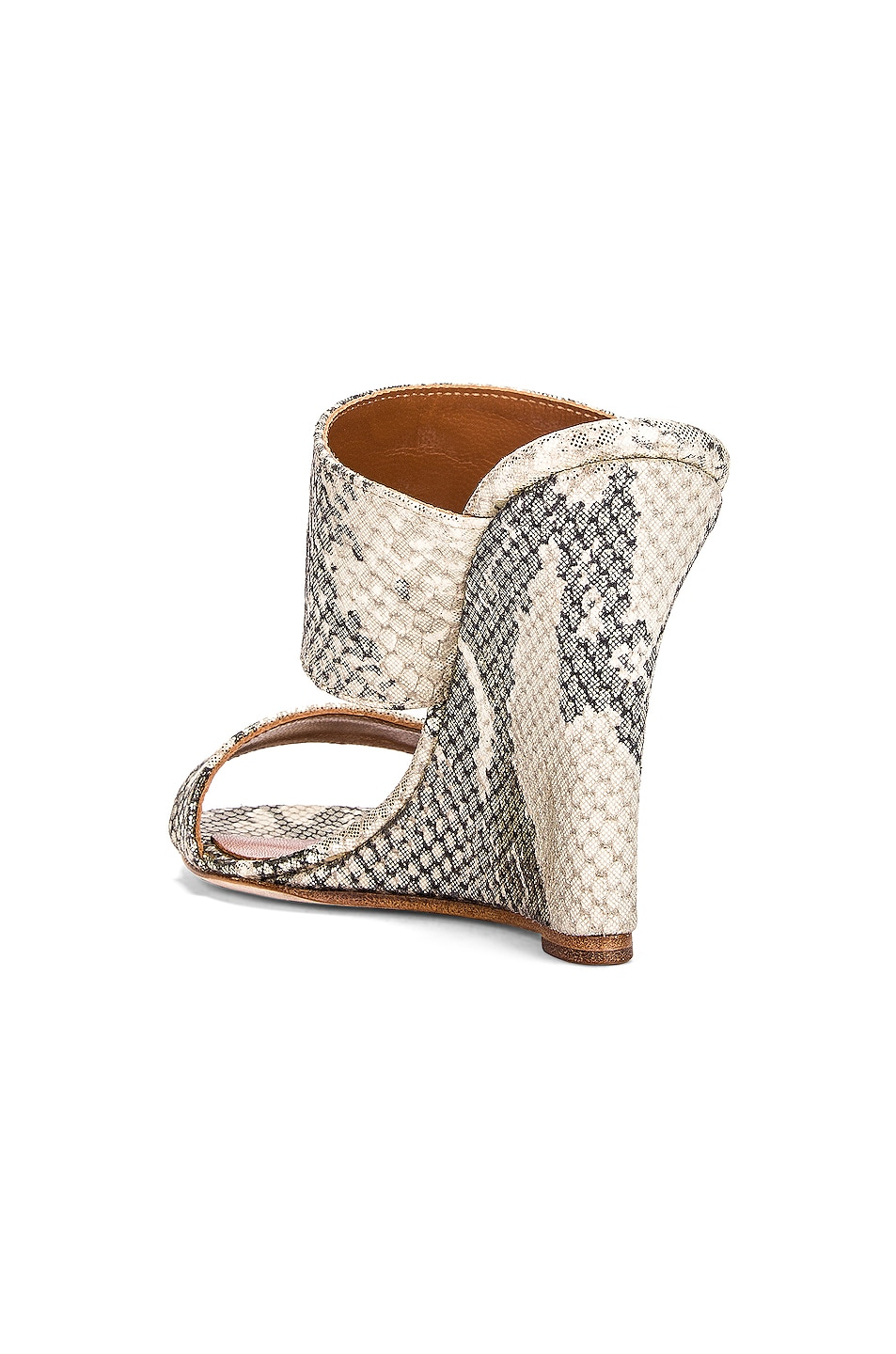 Image 3 of Paris Texas Python Lame Print 100 Wedge in Beige