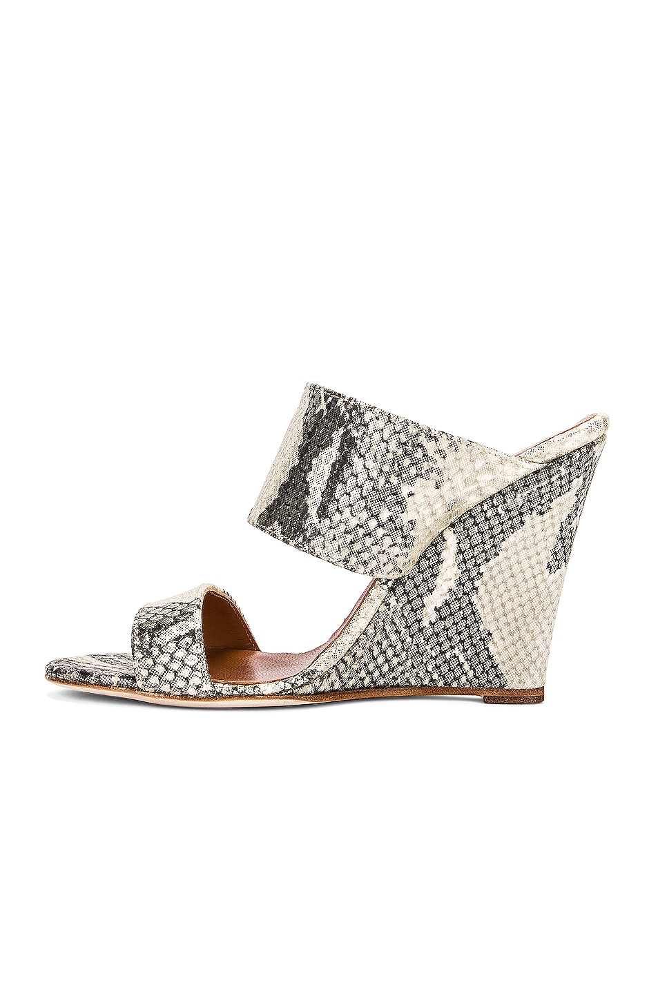 Image 5 of Paris Texas Python Lame Print 100 Wedge in Beige