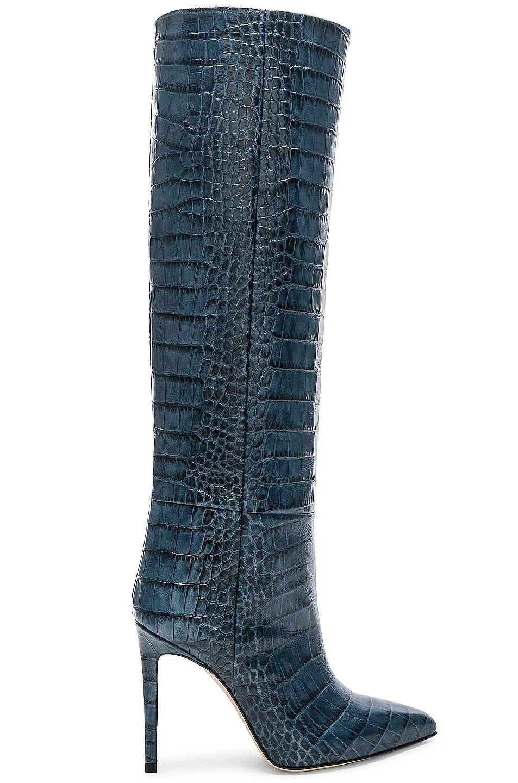 Image 1 of Paris Texas Stiletto Knee High Boot in Blu Croc