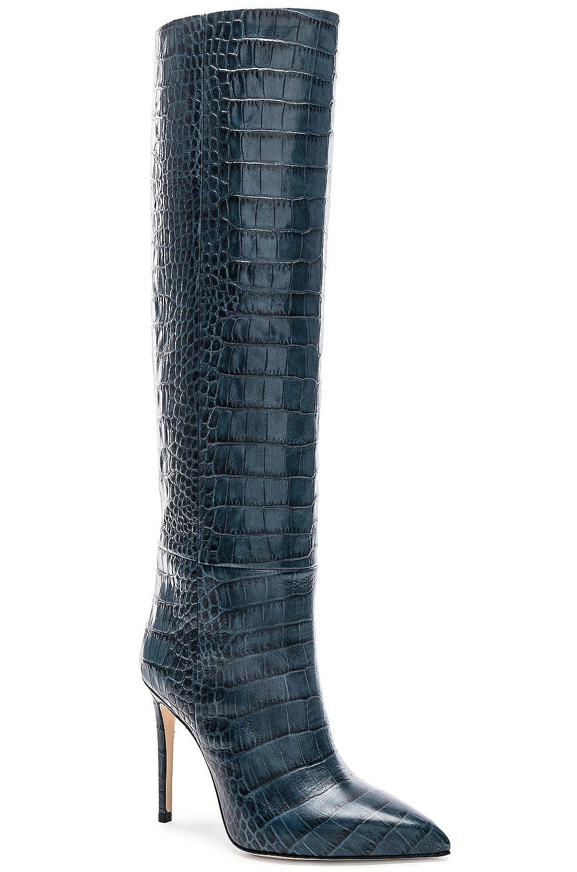 Image 2 of Paris Texas Stiletto Knee High Boot in Blu Croc