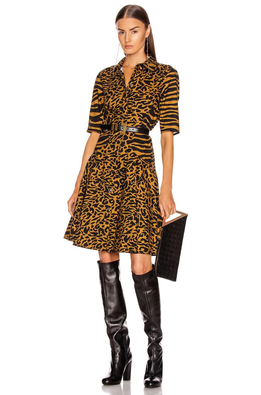 Image 1 of Proenza Schouler White Label Short Sleeve Shirt Dress in Brown Zebra