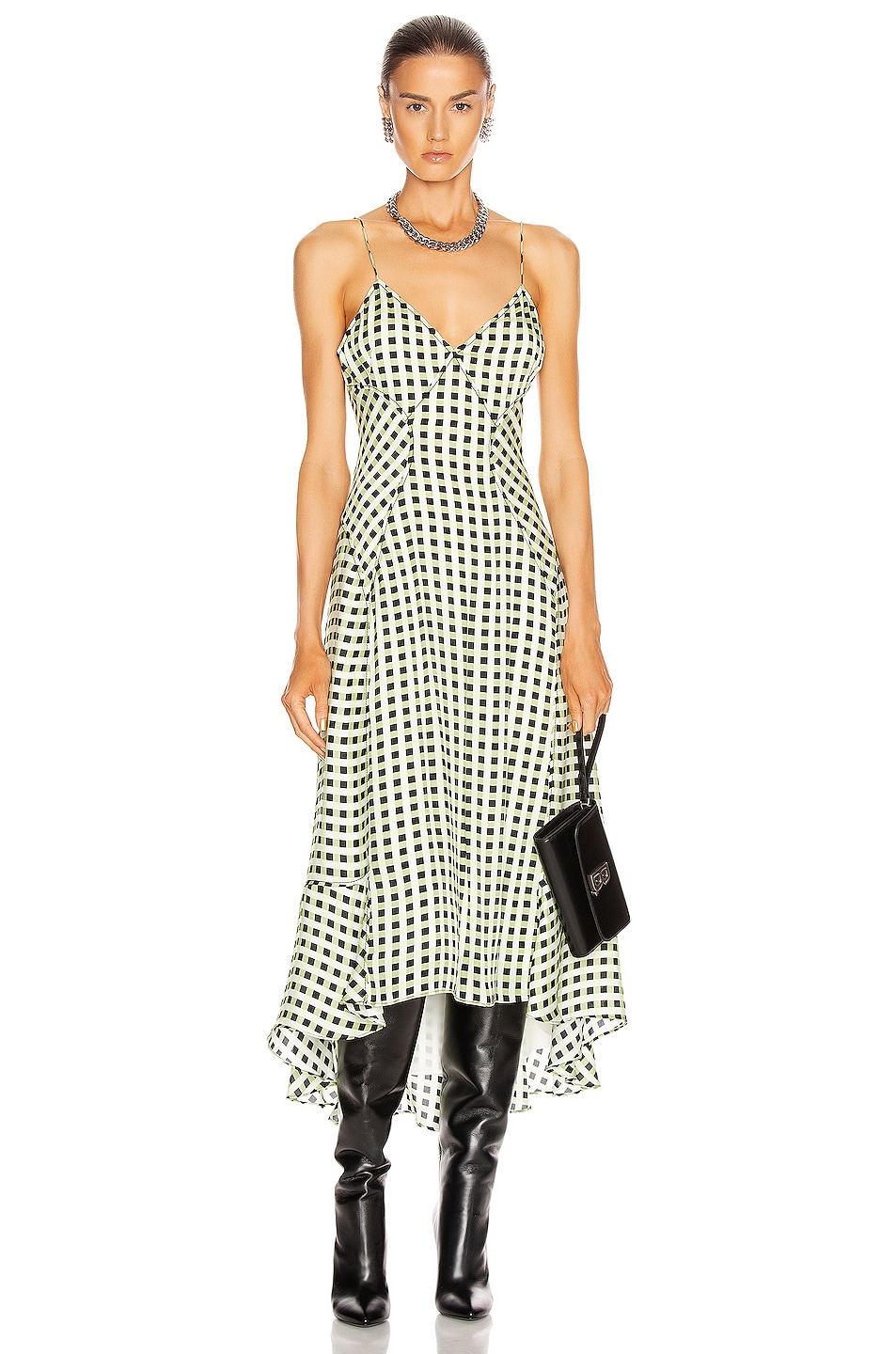 Image 1 of Proenza Schouler White Label Georgette Sleeveless Dress in Optic White & Black