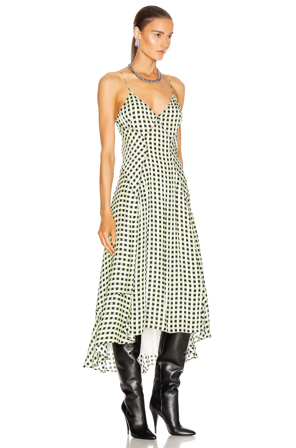 Image 2 of Proenza Schouler White Label Georgette Sleeveless Dress in Optic White & Black