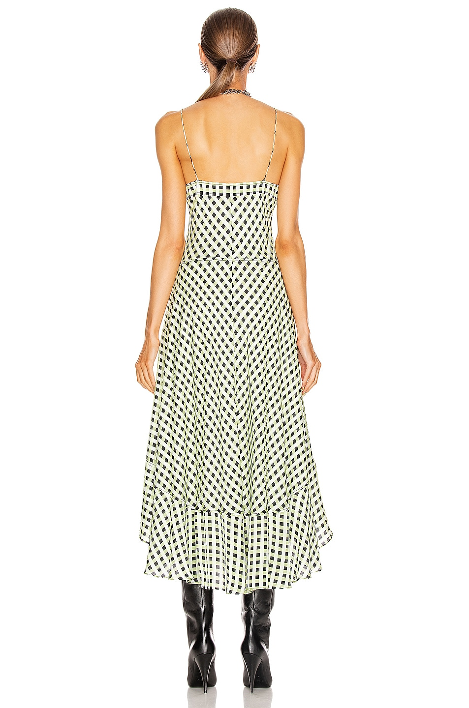 Image 3 of Proenza Schouler White Label Georgette Sleeveless Dress in Optic White & Black