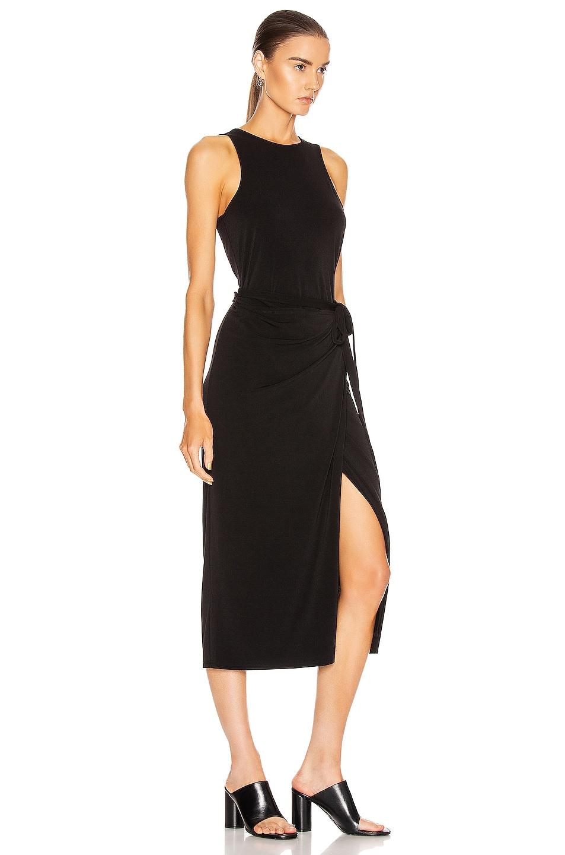 Image 2 of Proenza Schouler White Label Matte Jersey Sleeveless Wrap Dress in Black