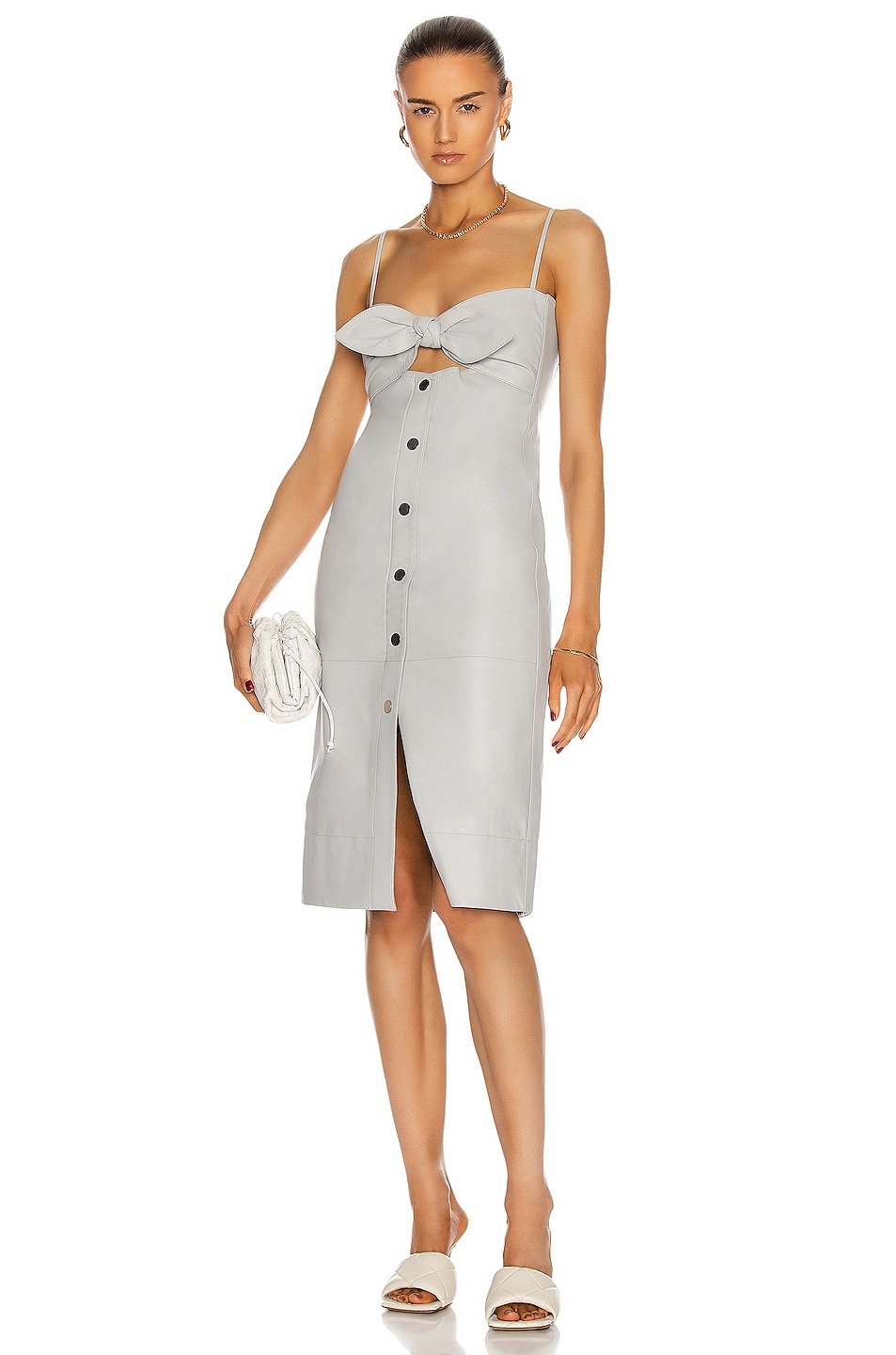 Image 1 of Proenza Schouler White Label Lightweight Leather Knotted Top Dress in Grey