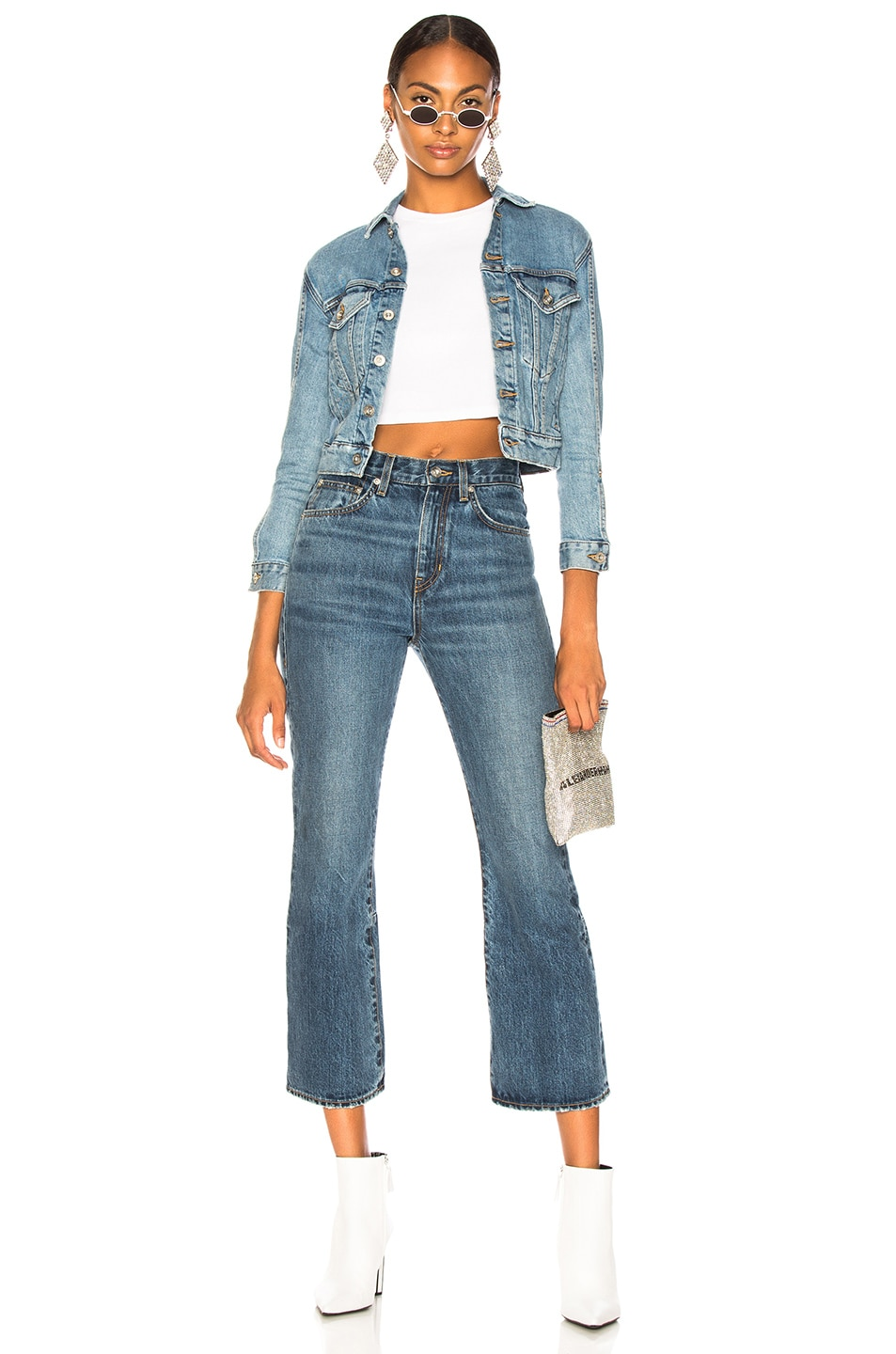 Image 4 of Proenza Schouler White Label Cropped Flare Jean in Medium Blue