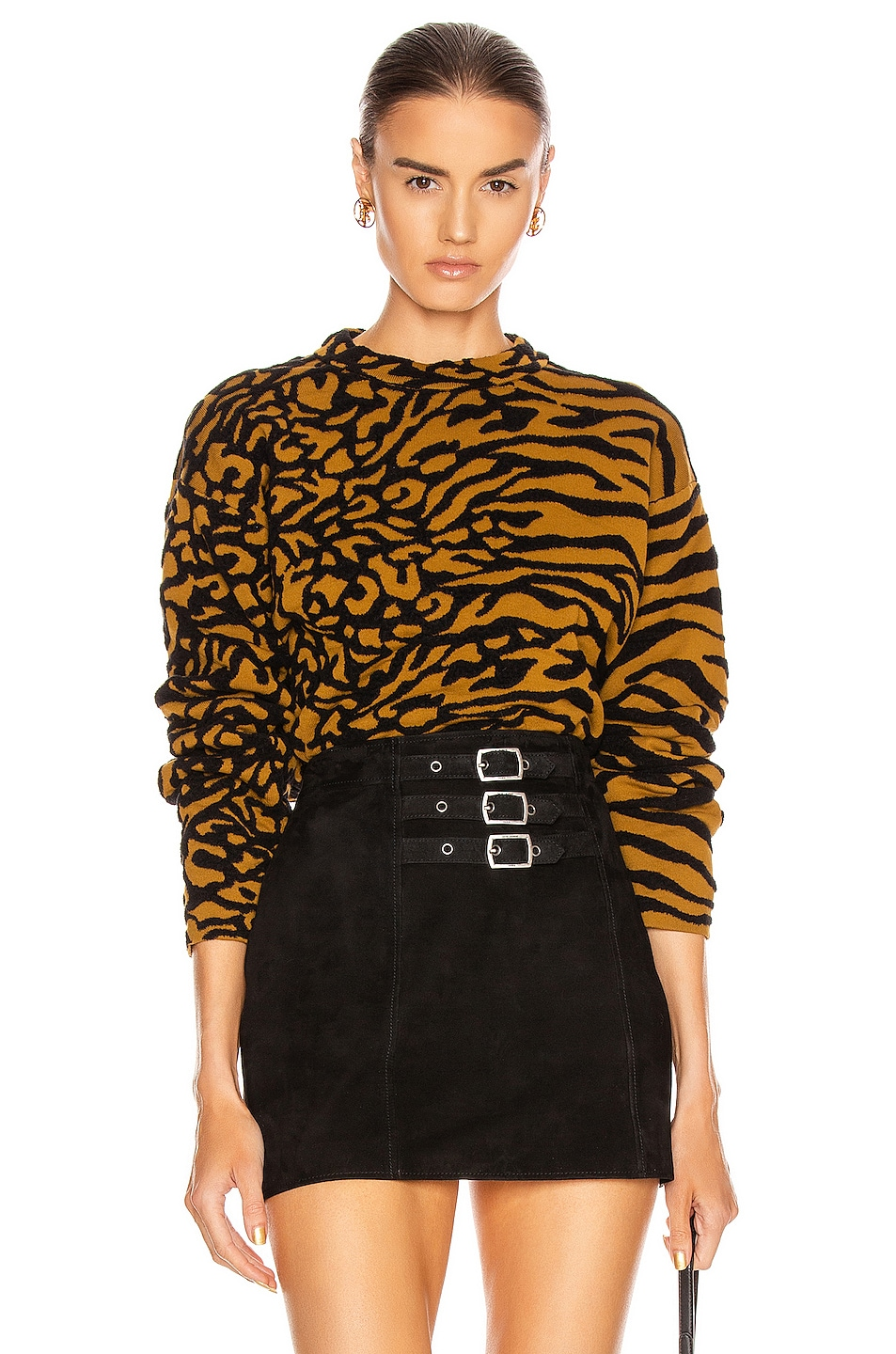 Image 1 of Proenza Schouler White Label Animal Jacquard Cropped Pullover in Fatigue & Black
