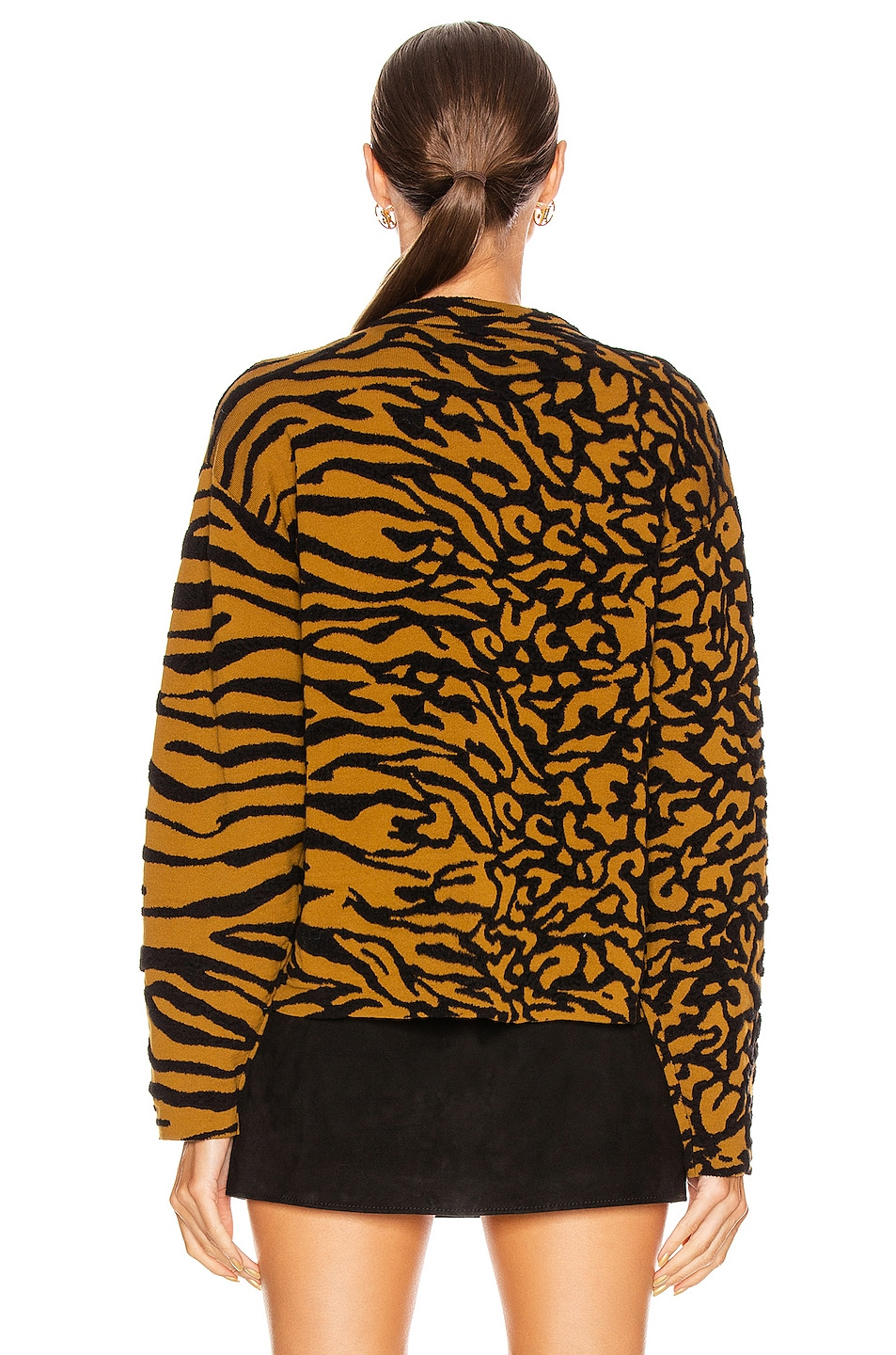 Image 3 of Proenza Schouler White Label Animal Jacquard Cropped Pullover in Fatigue & Black