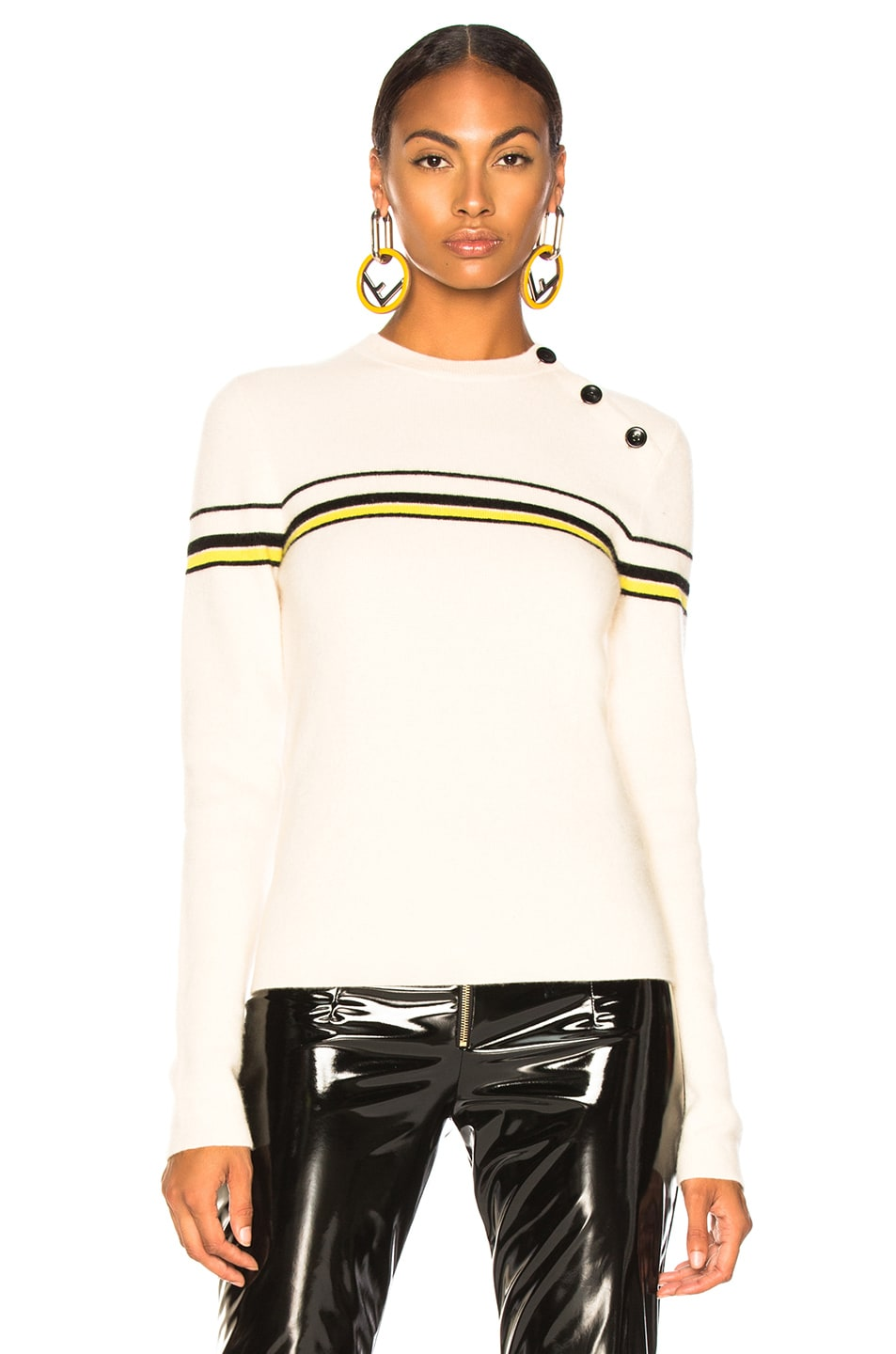 Image 2 of Proenza Schouler PSWL Stripe Sweater in Off White Combo