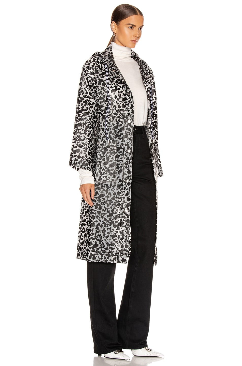 Image 3 of Proenza Schouler White Label Printed Long Raincoat in Milky White & Black