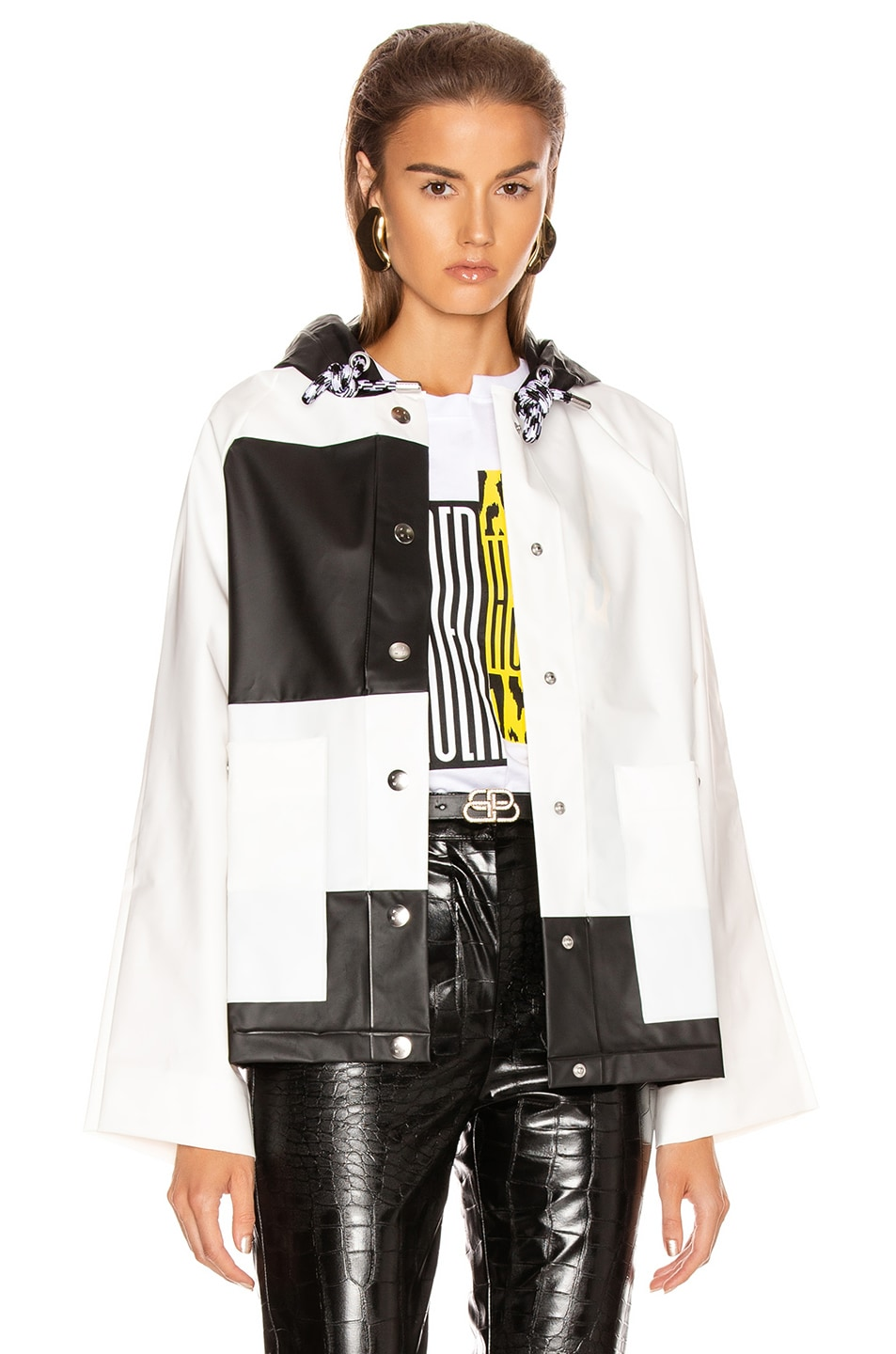 Image 1 of Proenza Schouler White Label Colorblock Short Raincoat in White & Black