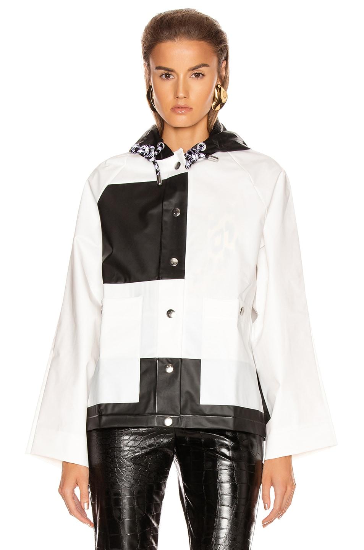 Image 2 of Proenza Schouler White Label Colorblock Short Raincoat in White & Black