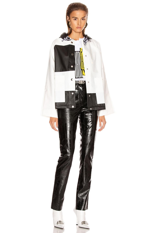 Image 5 of Proenza Schouler White Label Colorblock Short Raincoat in White & Black