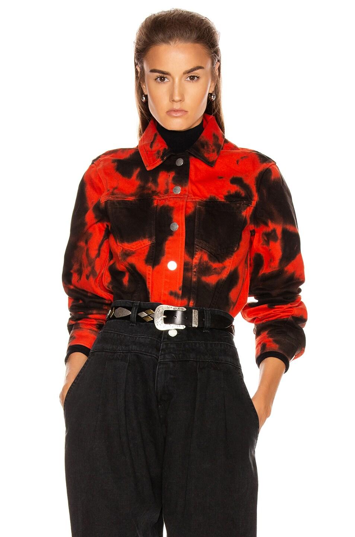 Image 2 of Proenza Schouler PSWL Denim Jacket in Poppy & Black Tie Dye