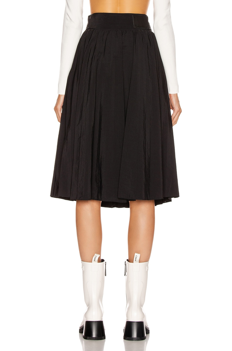 Image 3 of Proenza Schouler White Label Pleated Belt Skirt in Black