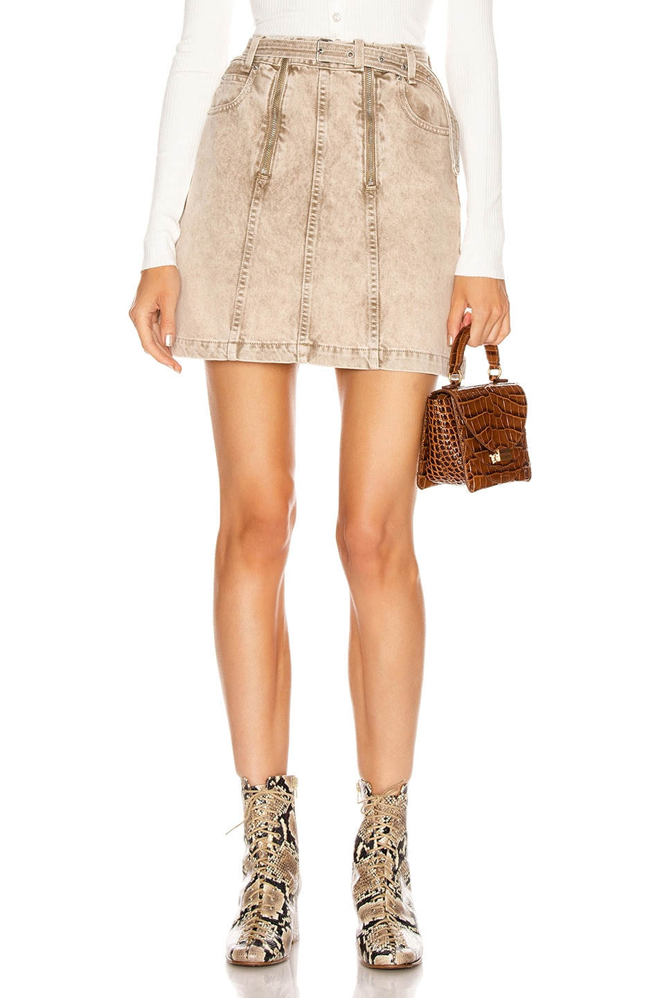 Image 1 of Proenza Schouler White Label Zipper Skirt in Taupe Acid Wash