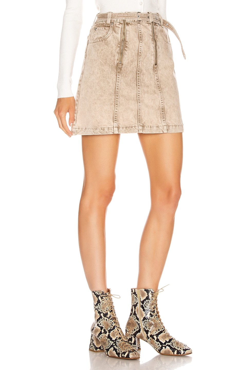 Image 2 of Proenza Schouler PSWL Zipper Skirt in Taupe Acid Wash