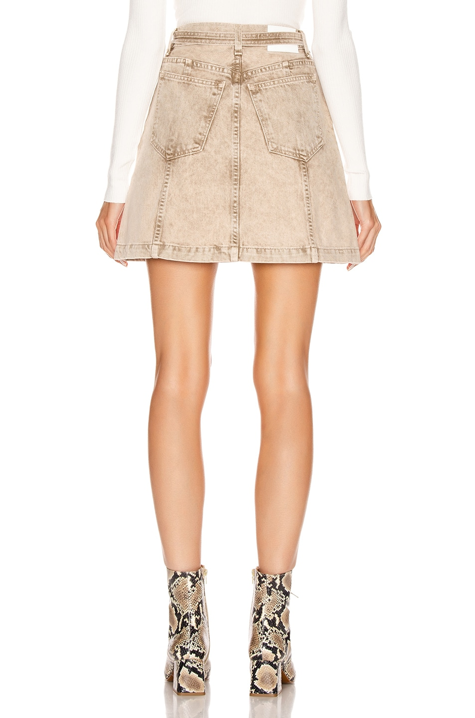 Image 3 of Proenza Schouler PSWL Zipper Skirt in Taupe Acid Wash