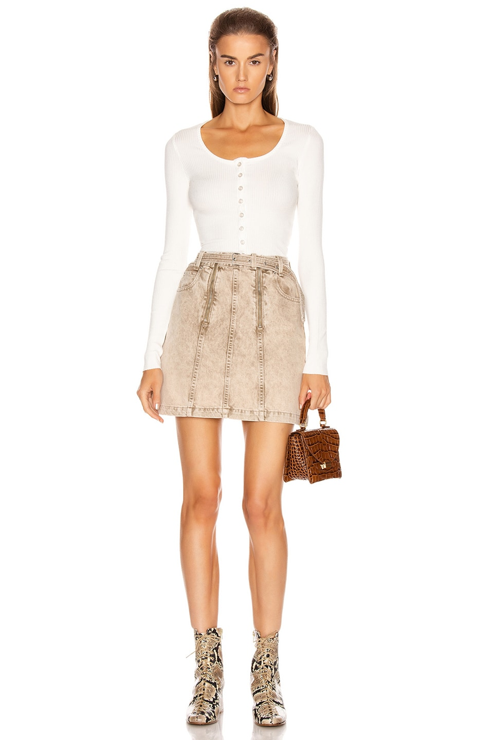 Image 4 of Proenza Schouler PSWL Zipper Skirt in Taupe Acid Wash