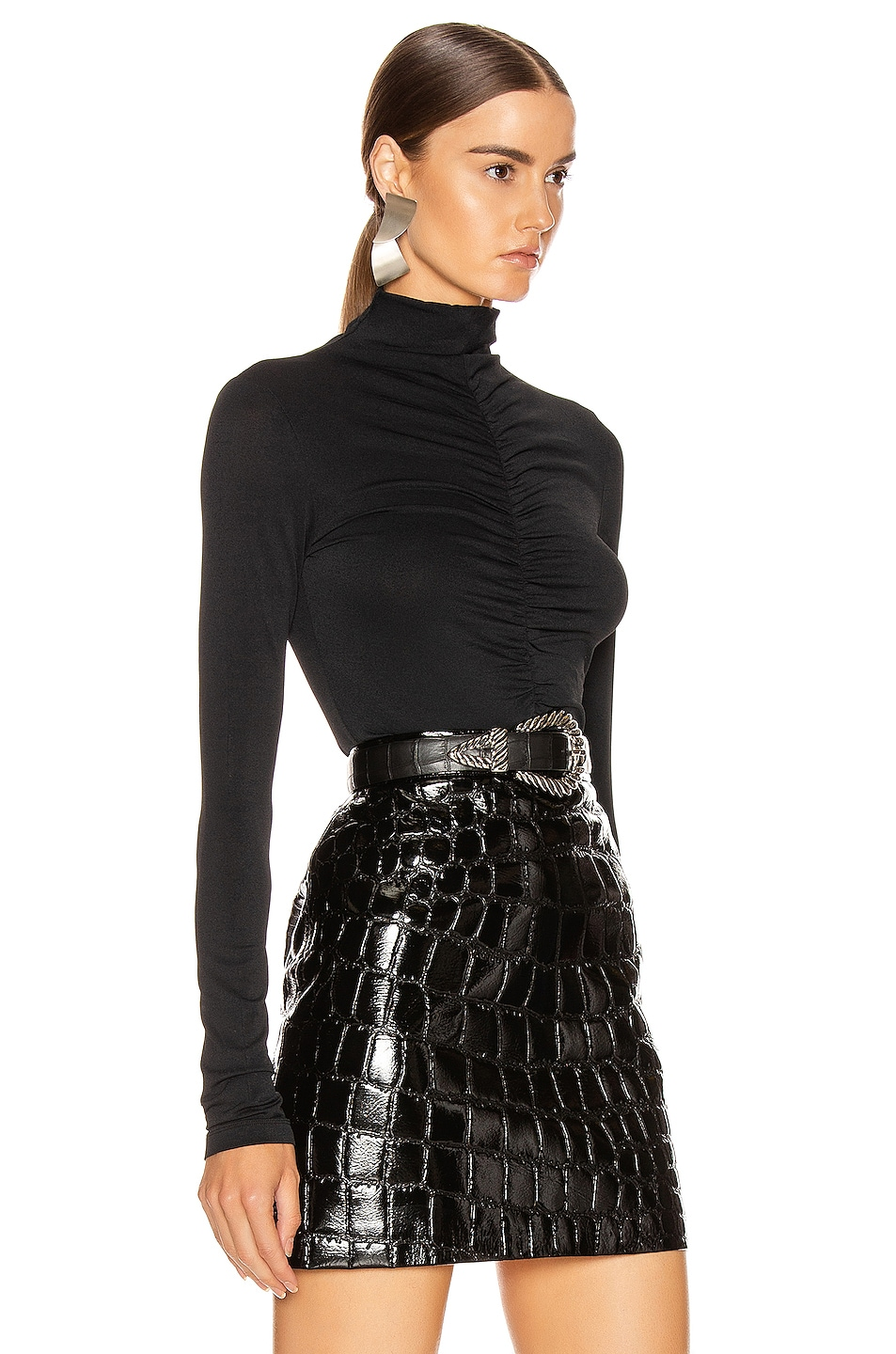 Image 3 of Proenza Schouler PSWL Long Sleeve Fitted Turtleneck Top in Black