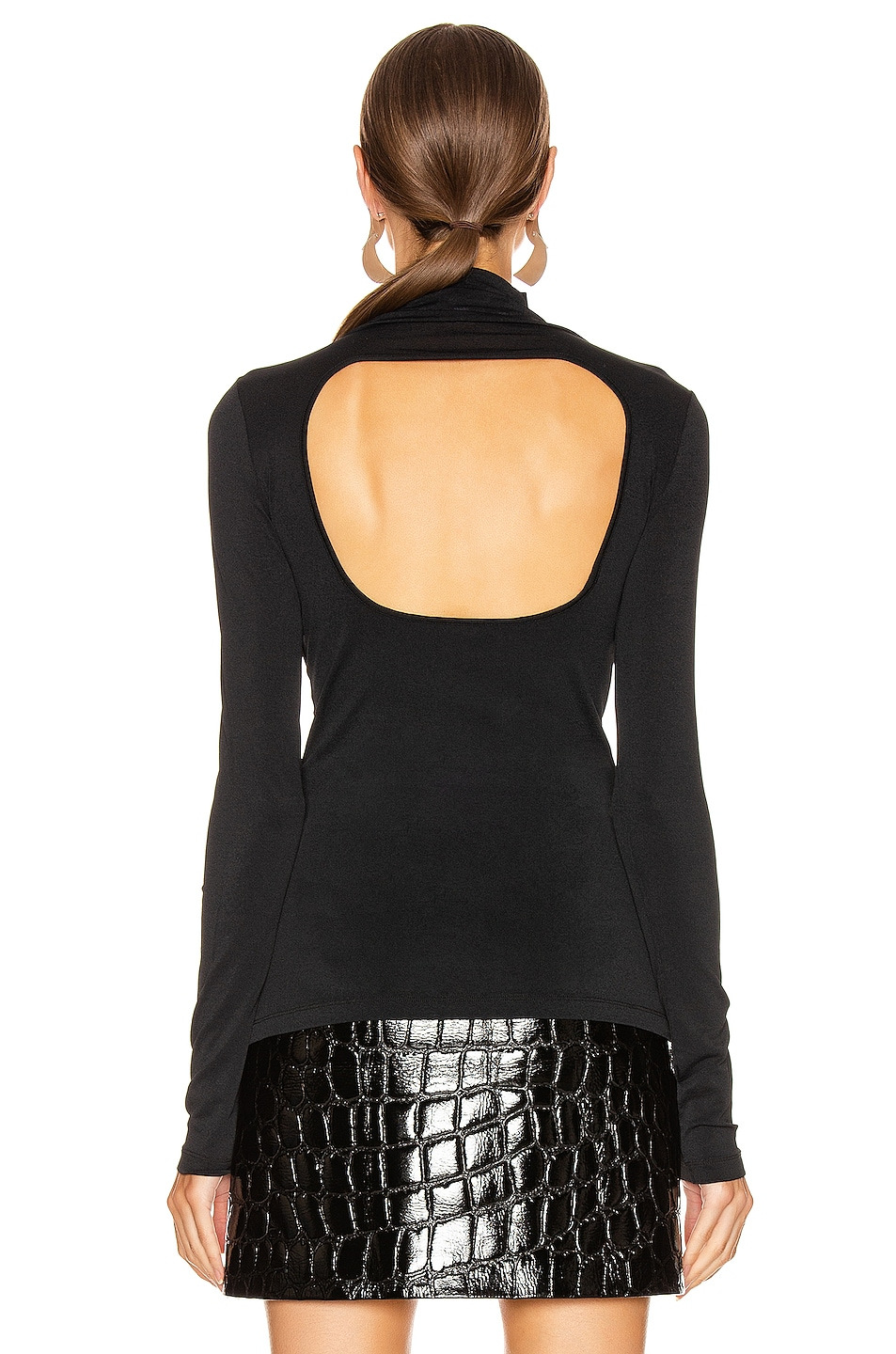 Image 4 of Proenza Schouler PSWL Long Sleeve Fitted Turtleneck Top in Black