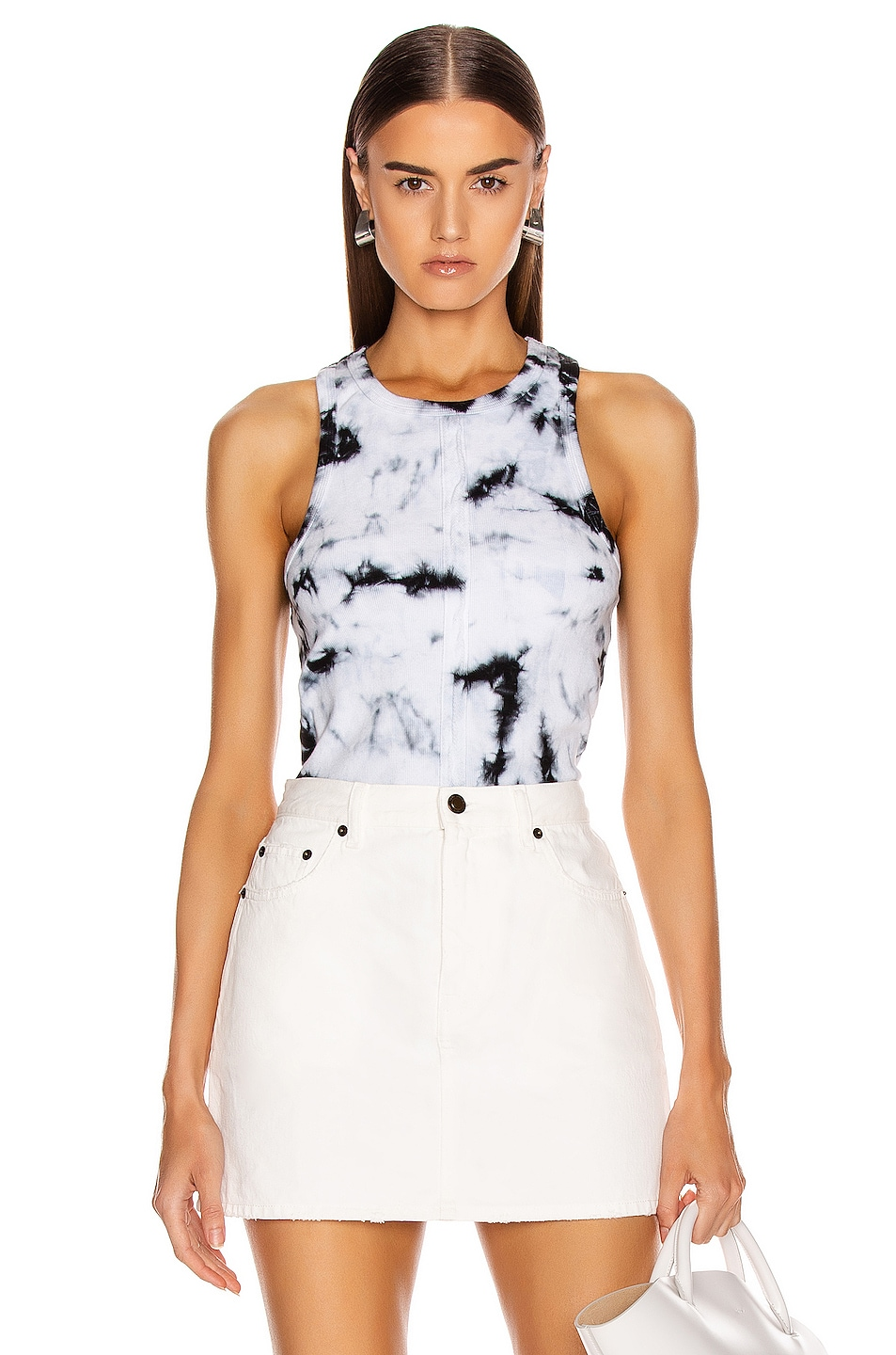 Image 1 of Proenza Schouler PSWL Tie Dye Rib Tank Top in White & Black Tie Dye