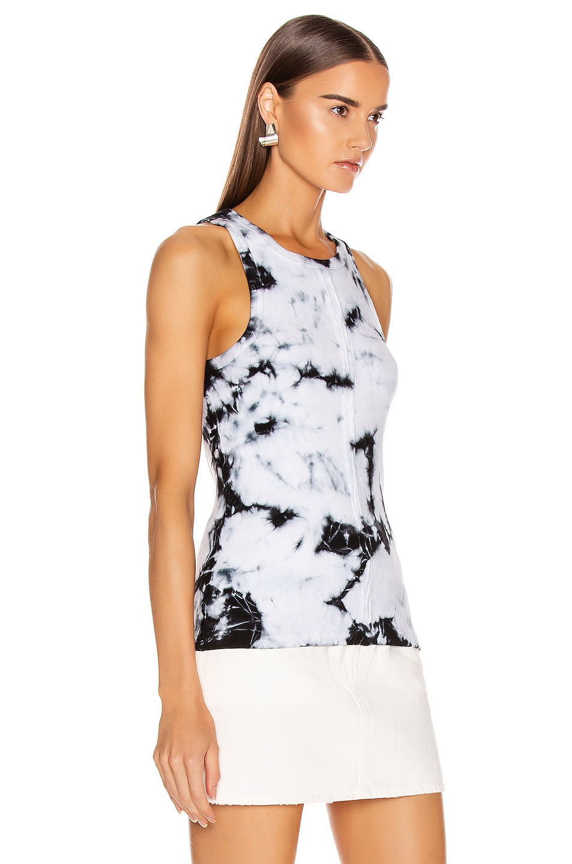 Image 2 of Proenza Schouler White Label Tie Dye Rib Tank Top in White & Black Tie Dye