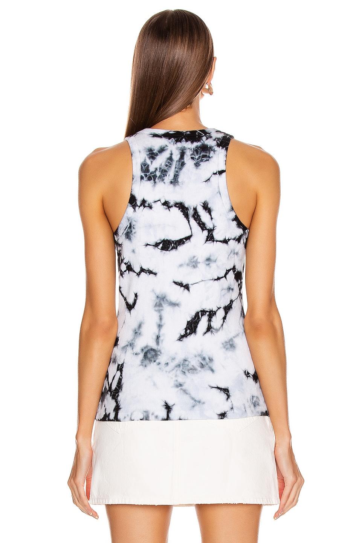 Image 3 of Proenza Schouler White Label Tie Dye Rib Tank Top in White & Black Tie Dye