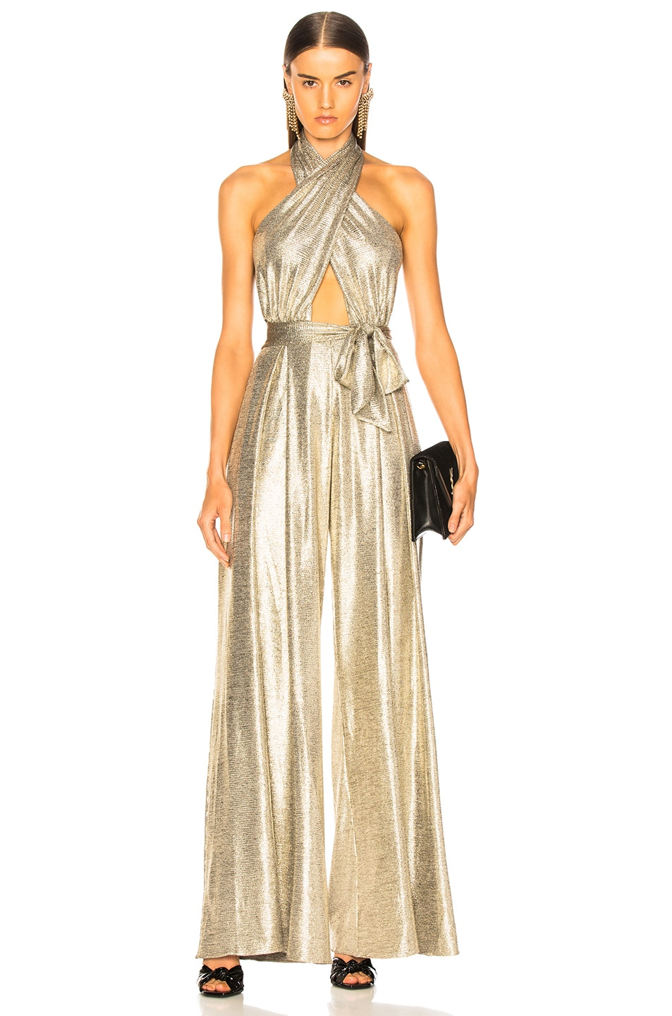 Image 1 of PatBo Lame Wrap-Front Jumpsuit in Platino