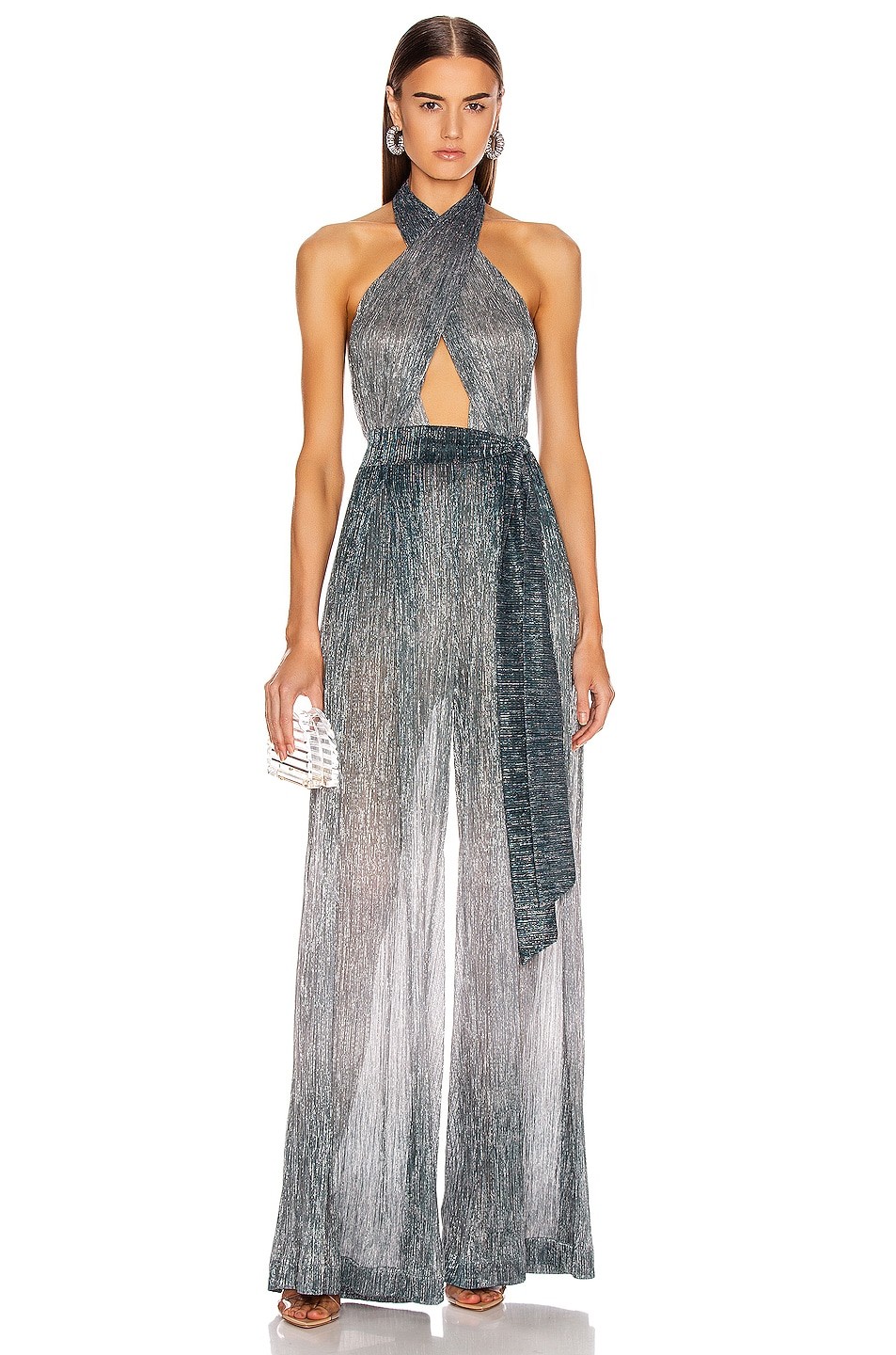 Image 1 of PatBO Ombre Lurex Cross Front Jumpsuit in Cyan