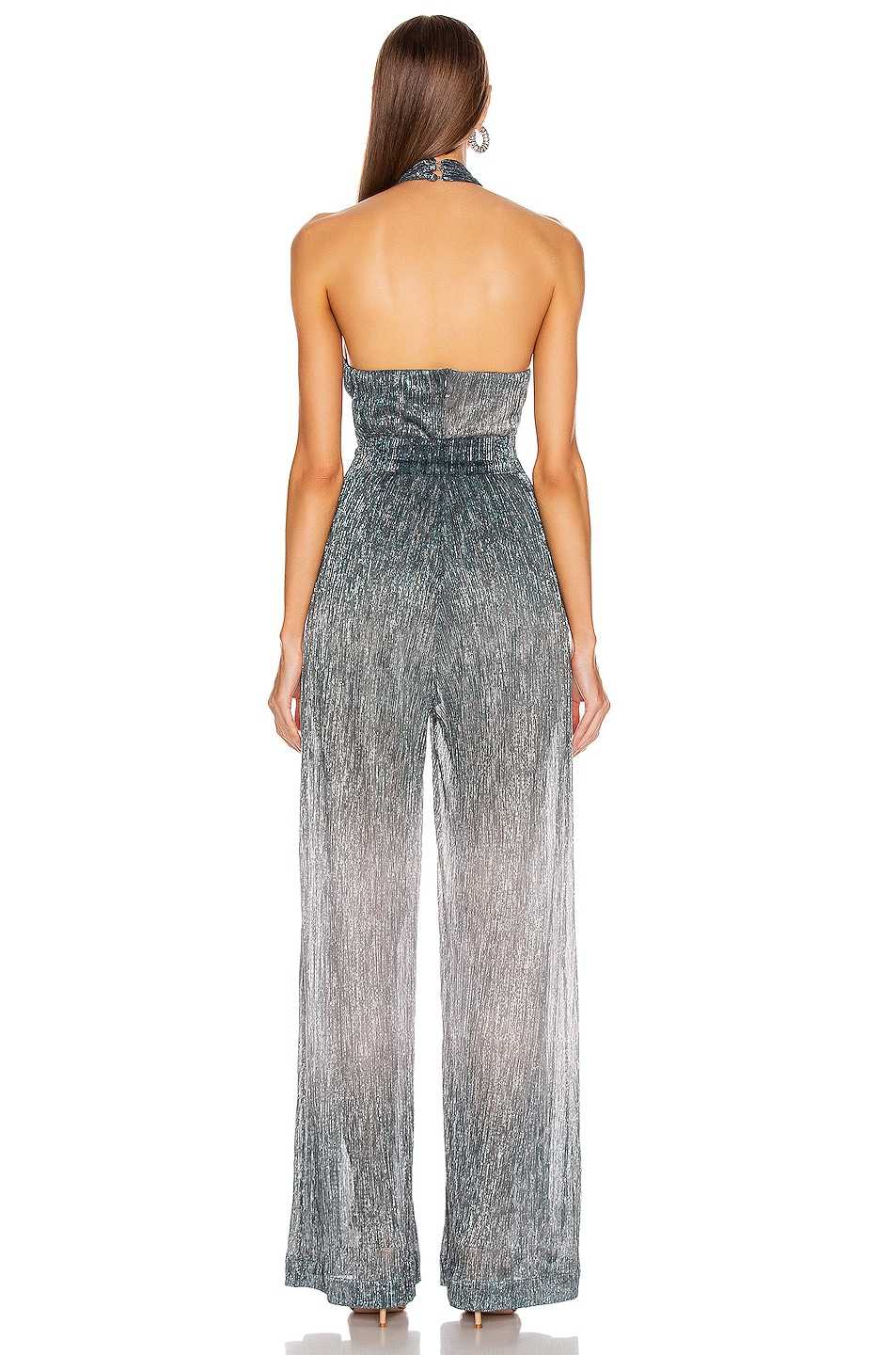 Image 3 of PatBO Ombre Lurex Cross Front Jumpsuit in Cyan