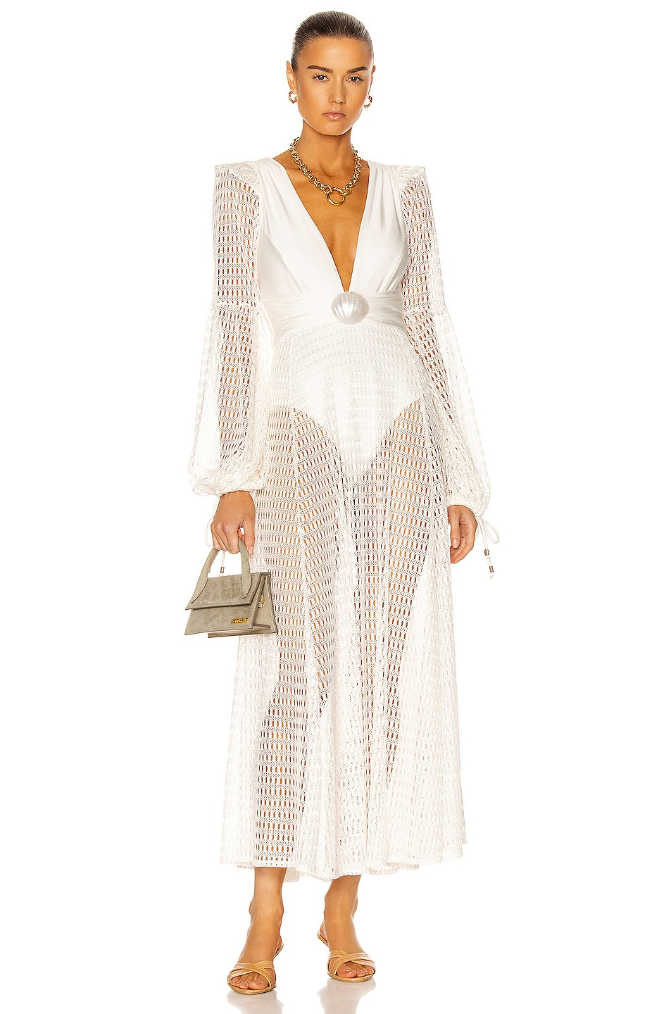 Image 1 of PatBO Plunge Long Sleeve Beach Dress in White