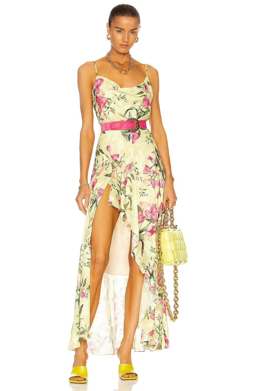 Image 1 of PatBO Tula Belted Slip Dress in Lemon