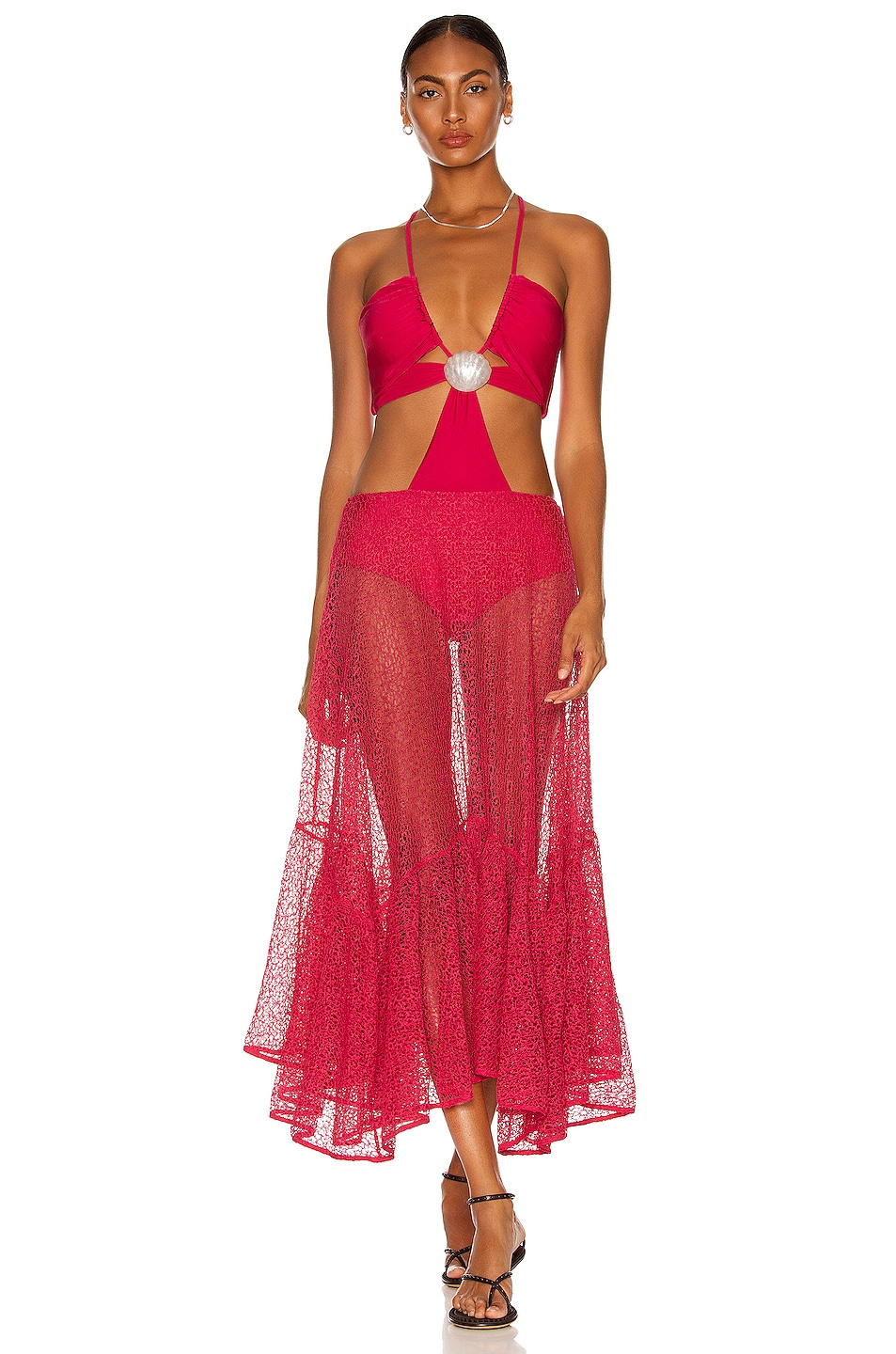 Image 1 of PatBO Cut Out Seashell Beach Dress in Cerise