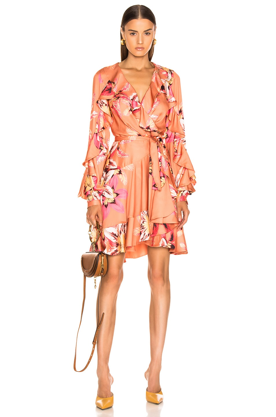 Image 1 of PatBo Floral Carmen Mini Wrap Dress in Nude