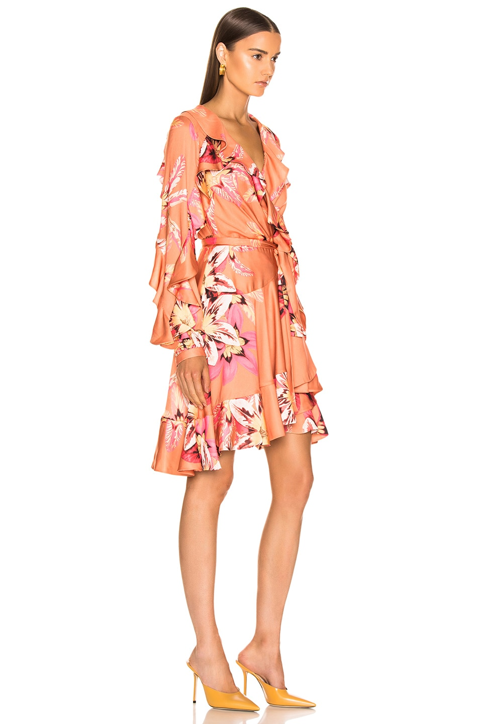 Image 2 of PatBo Floral Carmen Mini Wrap Dress in Nude