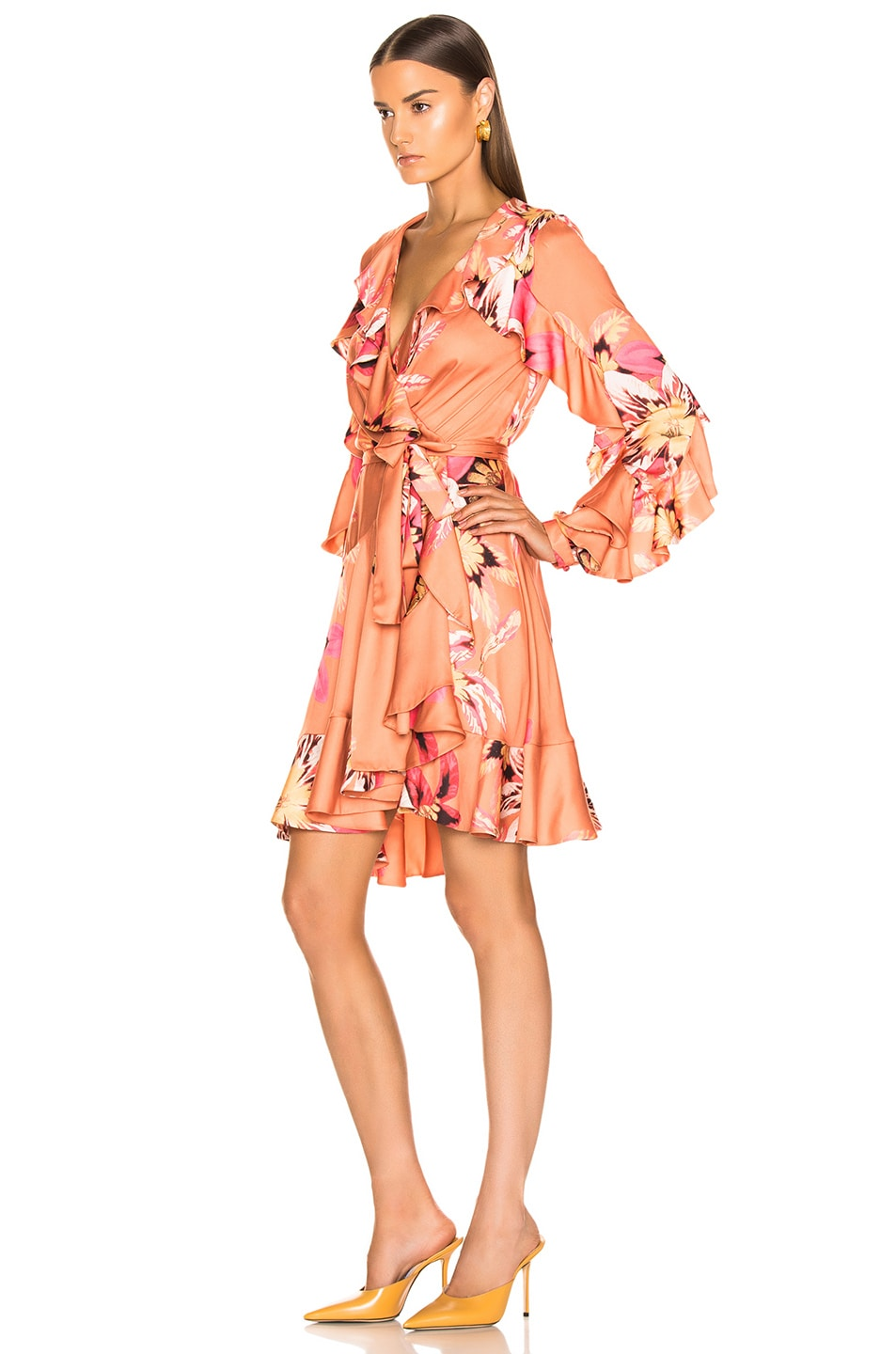 Image 3 of PatBo Floral Carmen Mini Wrap Dress in Nude